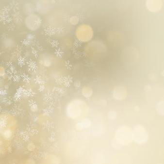 クリスマスと新年の黄金ボケ背景。