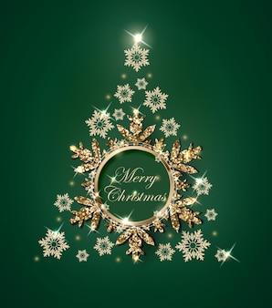 金の雪片から作られたクリスマスツリーとクリスマスと新年の緑の背景