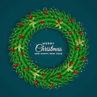 크리스마스와 새 해 녹색 화 환 프레임 템플릿 현실적인 벡터