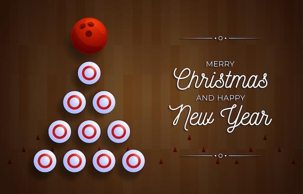 Рождественская и новогодняя открытка. творческая рождественская елка, сделанная кеглей для боулинга и шаром на фоне дорожки для боулинга для празднования рождества и нового года. спортивная открытка