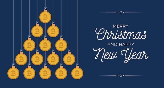크리스마스와 새 해 인사 카드입니다. 크리스마스와 새해 벡터 삽화를 위해 파란색 배경에 평평한 돈 비트코인 공으로 만든 크리에이 티브 크리스마스 트리