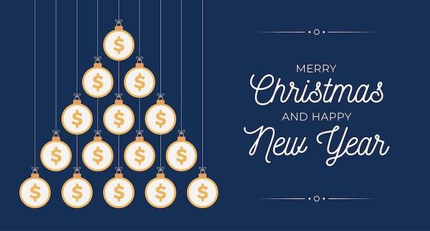 크리스마스와 새 해 인사 카드입니다. 크리스마스와 새 해 벡터 일러스트 레이 션에 대 한 파란색 배경에 평면 돈 달러 공으로 만든 크리 에이 티브 크리스마스 트리