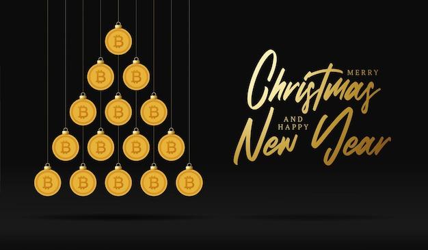 크리스마스와 새 해 인사 카드입니다. 크리스마스와 새해 벡터 삽화를 위해 검은 배경에 반짝이는 돈 비트코인 공으로 만든 창의적인 크리스마스 트리