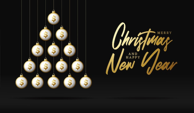 크리스마스와 새 해 인사 카드입니다. 크리스마스와 새해 벡터 삽화를 위해 검은 배경에 반짝이는 돈 달러 공으로 만든 크리에이 티브 크리스마스 트리