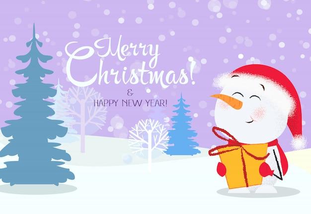 Рождественская и новогодняя открытка. милый снеговик