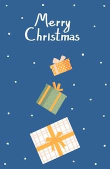 Рождественская и новогодняя открытка с рождеством векторная иллюстрация в плоском стиле