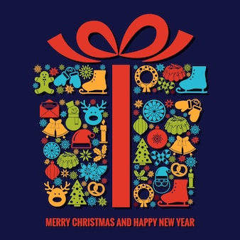 クリスマスと新年のグリーティングカードテンプレート。カラフルな季節のシルエットアイコンがクリスマスギフトボックスの形に配置され、下にテキストが付いたリボンが付いています。