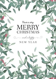 Рождество и новый год шаблон поздравительной открытки
