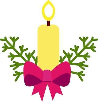 Рождественская и новогодняя открытка со свечой. векторная иллюстрация на белом фоне.