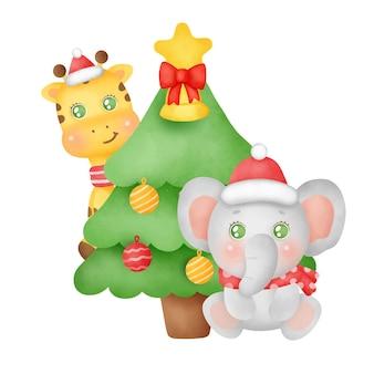 水彩風のかわいい象とキリンのクリスマスと新年のグリーティングカード。