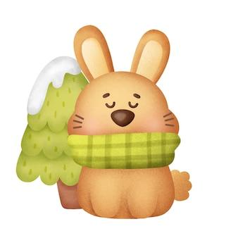 수채화 스타일의 귀여운 토끼와 함께 크리스마스와 새해 인사말 카드.