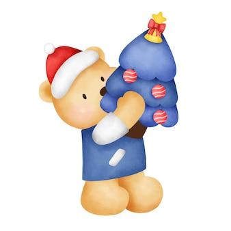 수채화 스타일의 귀여운 테디베어와 크리스마스 트리가 있는 크리스마스와 새해 인사말 카드.