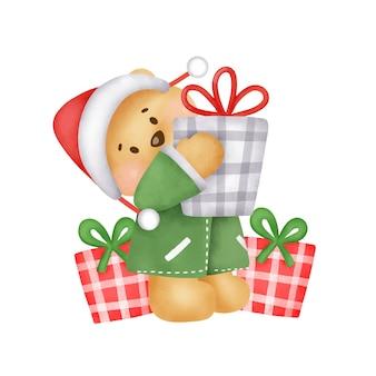 수채화 스타일의 귀여운 테디 베어와 선물 상자가 있는 크리스마스와 새해 인사말 카드.