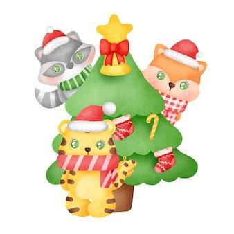 수채화 스타일의 귀여운 호랑이와 친구들이 있는 크리스마스와 새해 인사말 카드.