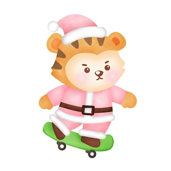 Рождественская и новогодняя открытка с милым тигром в акварельном стиле.