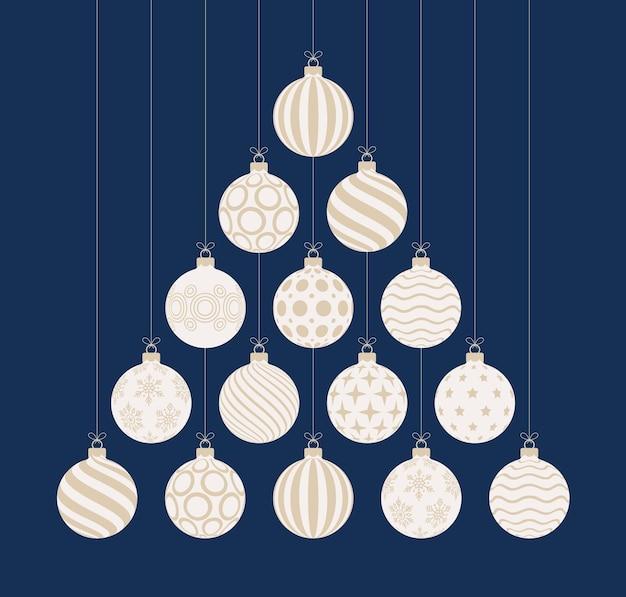 Рождественская и новогодняя открытка с плоским мультяшным изображением