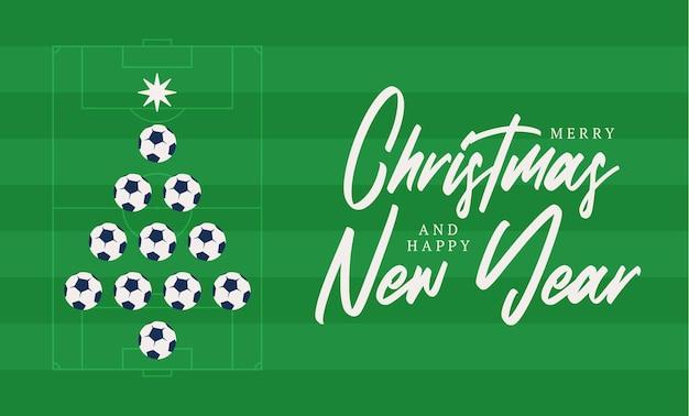 クリスマスと新年の挨拶フラット漫画カード