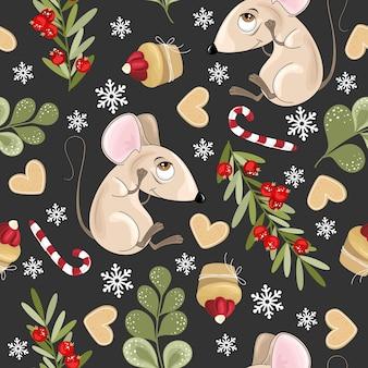 마우스와 함께 크리스마스와 새 해 휴일 원활한 패턴