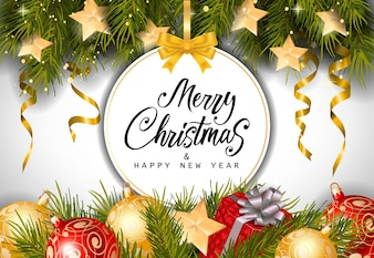 Happy New Year Merry Christmas Greeting Card Free Vector Vectors ...