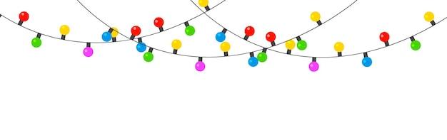 クリスマスと新年のライトガーランドは白い背景で隔離ネオンランプを導いた