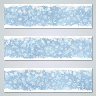 クリスマスと新年の豪華な青いベクトルバナーコレクション