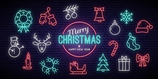 크리스마스와 새 해 네온 표지판.