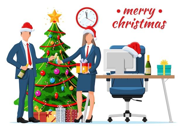 크리스마스와 새해 사무실 책상 작업 공간 인테리어. 선물 상자, 크리스마스 트리, 의자, 컴퓨터 pc, 시계. 사업가. 새해 장식. 메리 크리스마스 크리스마스. 평면 벡터 일러스트 레이 션