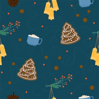 クリスマスと新年のパターンの背景。クリスマスラッピング紙テンプレート、新年のテキスタイル、クリスマスの家の装飾。