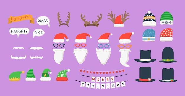 クリスマスと新年の写真ブースの小道具と要素。