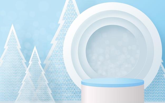 크리스마스와 새해 연단 배경 벡터는 3d 제품을 디자인하거나 화장품 디스플레이를 보여줍니다. 무대 받침대 또는 플랫폼. 겨울 크리스마스 빨간색 배경입니다.