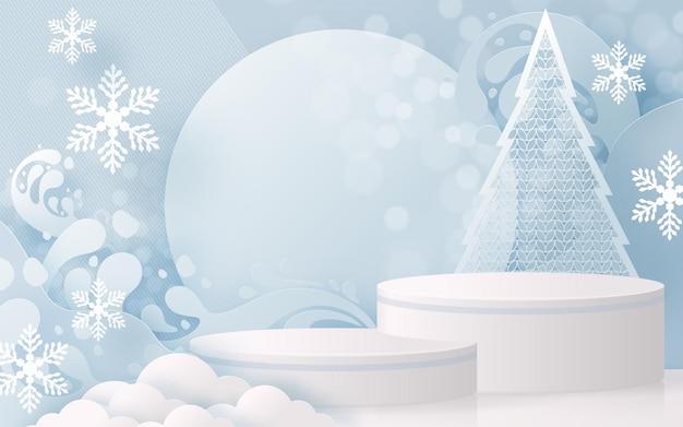 クリスマスと新年の表彰台の背景