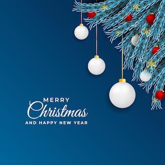 화이트 크리스마스 공 및 잎 크리스마스와 새 해 게시물 디자인