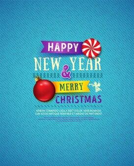 クリスマスと新年のポスタークリスマスメッセージと編み物の背景上のオブジェクト