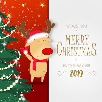 クリスマスと新年のポスター。ルドルフトナカイ