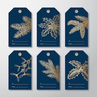 クリスマスと新年のすぐに使えるギフトタグまたはラベルテンプレートは、手描きのファーニードルパインブランチを設定します...