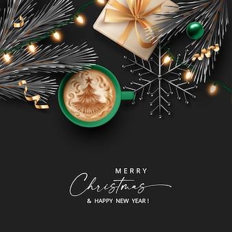 Рождество и новый год реалистичный баннер с подарочной коробкой, чашкой кофе и украшениями