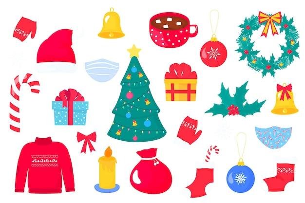クリスマスと新年のクリップアート。サンタさんの帽子、鞄、靴下。鐘とヤドリギのある花輪。マシュマロとココアのカップ。キャンドル、ギフト、ロリポップ。