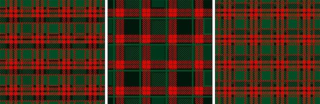 크리스마스와 새해의 빨강-녹색 격자 무늬 타탄. 매끄러운 질감의 체크무늬 원단입니다.