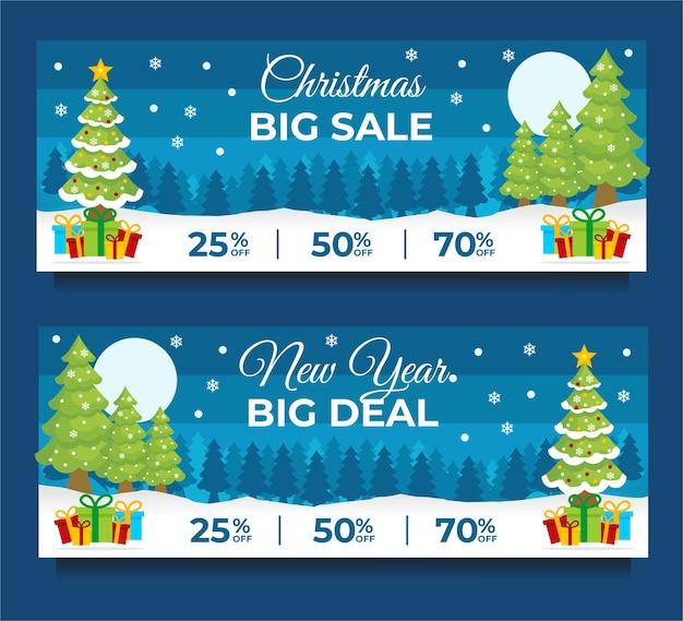Рождественские и новогодние продажи баннер шаблон с елкой красный фон