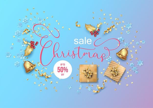 Рождественские и новогодние распродажи баннеров с подарками и рождественскими украшениями