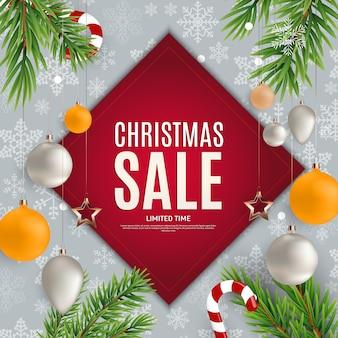 Рождество и новогодняя распродажа баннер
