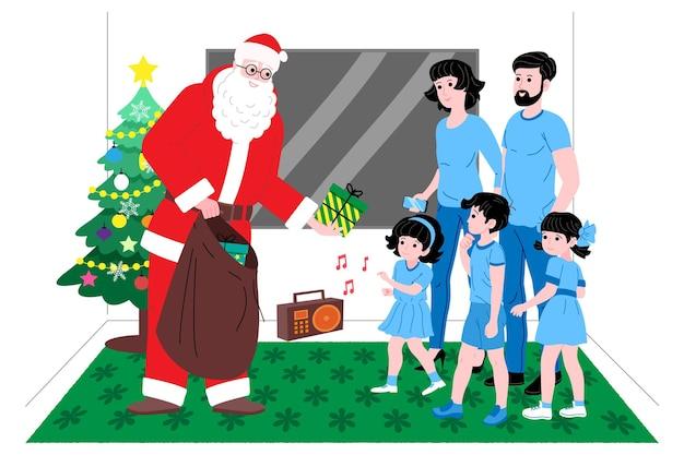 크리스마스와 새해. 산타클로스는 집에서 가족과 어린 아이들에게 선물을 줍니다. 방문 페이지 또는 온라인 상점 웹 사이트의 그림 또는 배너. 귀여운 벡터 평면 이미지입니다.