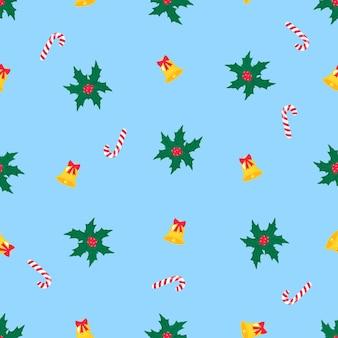 クリスマスと新年のシームレスなパターン、デジタルペーパー。ヤドリギ、ロリーポップ、ベル。