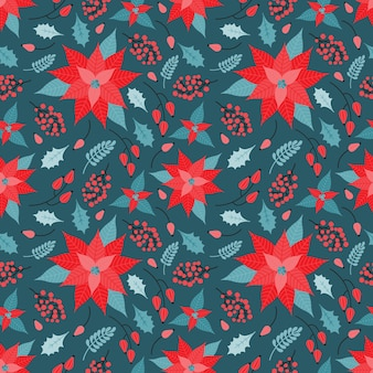 ベクトルのクリスマスと新年のシームレスなパターン。植物の装飾的な要素、ポインセチア、赤い果実、ヒイラギの葉、枝のお祝いの背景。ヴィンテージスタイルの手描きの休日のイラスト。
