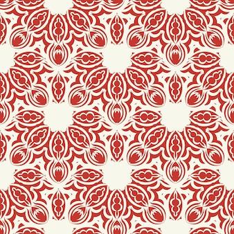 Рождество и новый год бесшовные модели. красно-белый пиксельный узор fair isle в красно-белом цвете с северными снежинками для зимней шапки, уродливого свитера, джемпера или других дизайнов.