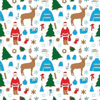 크리스마스와 새 해 원활한 패턴, 벡터 일러스트 레이 션, 산타 클로스, 순 록, 크리스마스 트리, 눈송이, 크리스마스 장난감, 따뜻한 옷, 손 그리기, 컬러