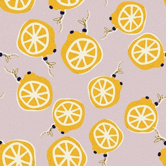 Рождество и новый год бесшовные модели с елочными игрушками в виде лимонов в векторе.