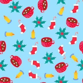 クリスマスと新年のシームレスなパターン、包装紙。