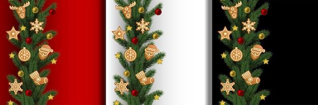 クリスマスと新年のシームレスな垂直境界線セット