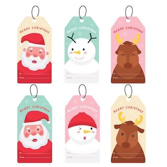 Рождественская и новогодняя сезонная коллекция с изображением санта-клауса, снеговика и северного оленя на закладке, ярлыке или значке.
